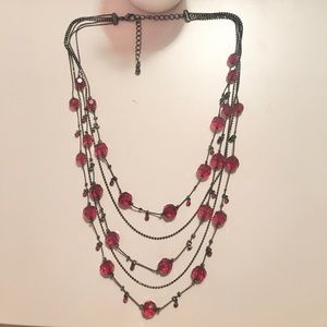 Jewelry - 2/$10! Deep Red Layered Beaded Necklace Grey Metal